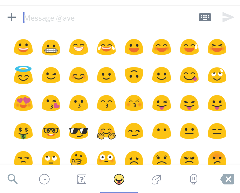 Emoji drawer with blobs