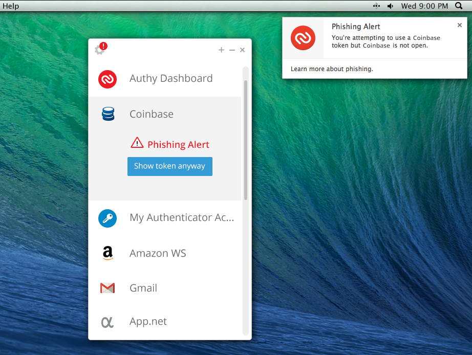 Image of the Authy Desktop app, courtesy of ArsTechnica